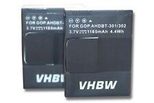 2x Akku für GoPro Hero 3 III CHDHX-301 1180mAh 3.7V Li-Polymer