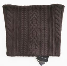 $395 RALPH LAUREN BLACK LABEL Brown 100% CASHMERE Knit SNOOD Cowl Neck Scarf