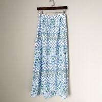 J.McLaughlin Flower Trellis Print Maxi Skirt Size XS Elastic Waist Blue Lattice