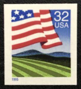 1995 Scott #2919, 32¢, FLAG OVER FIELD - Booklet Single - Mint NH -