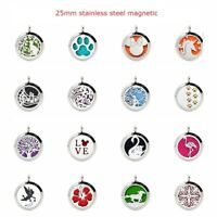 25mm Silver Stainless Steel Aroma Essential Oil Diffuser Locket Necklace Pendant