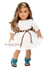 White Dress + Belt + Teal Shoes Outfit for 18 inch American Girl Doll clothes