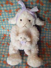 "Russ Berrie "" Lambkins "" mum and baby   Soft plush toy. 10"" approx rare"