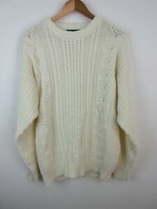 Giordano 100% Acrylic Mens Jumper Sweater Size XL Knit Pullover White Adult