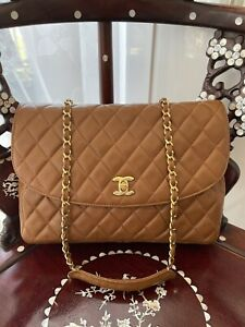 CHANEL AUTHENTIC SAC/BAG TIMELESS/CLASSIQUE CUIR/LEATHER BROWN/MARRON