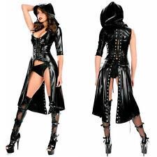 Sexy Damen Bodysuit Schwarz Wet Look Leder Gothic Jumpsuit Clubwear Romper Kleid