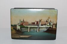 Lukutin. Imperial Russian Lacquer Stamp Box old White Kremlin Moskow River.