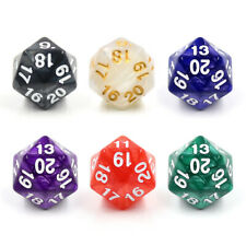 (6) PEARL GREEN/RED/PURPLE/BLUE/WHITE/BLACK COUNTDOWN/SPINDOWN D20 22MM DICE MTG