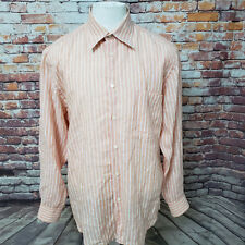 BRIONI MEN'S STRIPED LINEN LONG SLEEVE CASUAL SHIRT SIZE M  A57-24