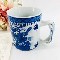 Canton Chinese Shaving Mug Twisted Handle Blue White Thick Heavy MMA-PEM