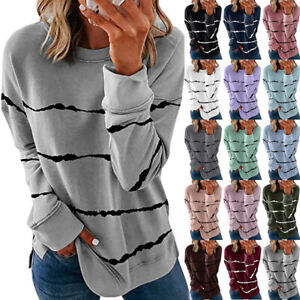Womens Striped Long Sleeve Tops Sweatshirt Ladies Loose Casual T Shirt Blouse