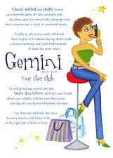 Postcard Horoscope Zodiac Star Sign GEMINI for Ladies Women Girls Novelty Gift