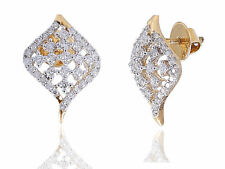 Pave 0.84 Cts Natural Diamonds Stud Earring In Fine Hallmark 18Karat Yellow Gold