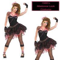 80's Pop Star Costume Fancy Dress Adult Madonna Rock Idol 1980s Party Ladies
