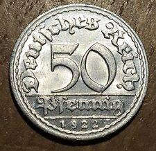 PIECE DE 50 REICHSPFENNIG 1922 D UNC (39)