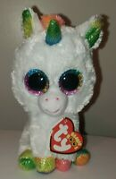 "Ty Beanie Boos - PIXY the Unicorn 6"" (Rainbow Horn Version) MINT with MINT TAGS"