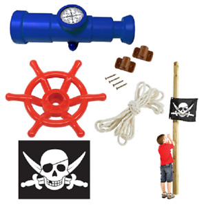 Set of 3 Accessories Climbing Frame Telescope Compass+Flag+Pirate Steering Wheel