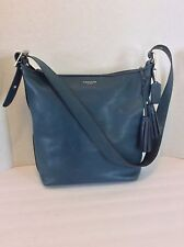 COACH Blue Leather Shoulder Shopper Tote Cross body  Tassel Bag #D1293-19889