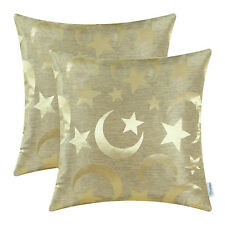 2Pcs Gold Cushion Covers Throw Pillows Shell Modern Stars Moon Home Decor 18x18""