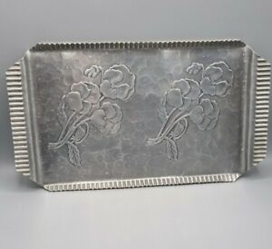 Vintage Pewter Tray Craft Studios Canada Rectangular Floral marked 142