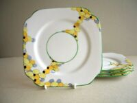 Bell China - 4 Art Deco Style Side Plates - Yellow and Grey pattern