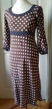 Boden brown navy white spotty polka dot dress 10