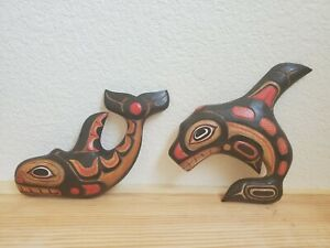 Wood Carvings West Coast Native Art KILLER WHALE Haida Tlingit Wall Hanging