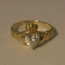 Irish Celtic Claddagh Engagement Promise Ring 14k Yellow Gold CZ Heart Size 8