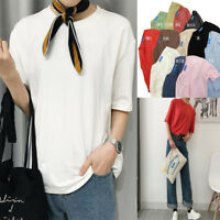 Summer Women Korean Loose Solid Plain Basic Short Sleeve T Shirt Blouse Tops Tee