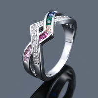 925 Silver Rainbow Topaz CZ Criss Cross Ring Fashion Women Wedding Jewelry Gifts