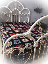 New Handmade Granny Square Crochet Afghan Queen or Full Bed Sized Matching Game