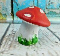 """Vintage Porcelain Leaning Mushroom Figurine Bell 3"""" Tall"""