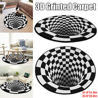 3D Printed Round Vortex Illusion Anti-slip Home Room Rug Carpet Floor Door Mat