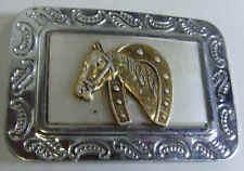 vintage faux mother pearl western horse head hoof equestrian belt buckle 44044