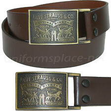 "Levis Leather Belt Mens 1 1/2"" genuine bridle leather strap with plaque buckle"