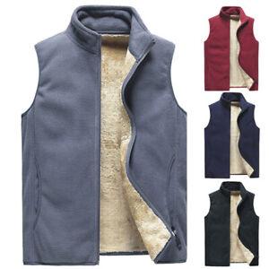 Mens Sherpa Lined Fleece Waistcoat Gilet Full Zip Up Jacket Vest Tops Sleeveless