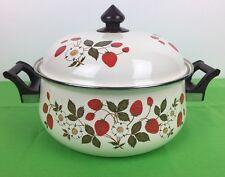 Sheffield Strawberries n' Cream Porcelain on Steel Gourmet 5.5qt Stock Pot