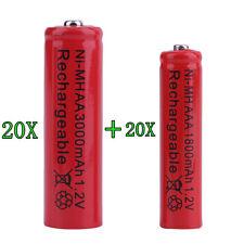 20 Stück AA 3000mA + 20 Stück AAA 1800mA 1.2V Ni-MH Akku Aufladbare Batterien Ja