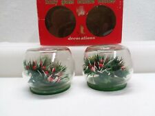 Vintage Commodore Christmas Holly Glass Candle Holders Candlestick