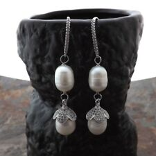 M011815 White Rice Pearl CZ Earrings