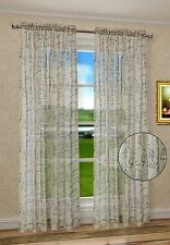 "French Script Faux Linen Sheers Window Curtains Panels Taupe Color 50"" X 63"""