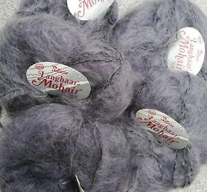 5 x 50g Rellana Langhaar  Mohair Wolle 76% Mohair,20% Schurwolle  grau