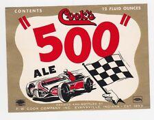 Cook's 500 Ale Beer Label