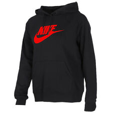 Nike Hoodie Mens  Black  Red Logo  Pullover Sweatshirt