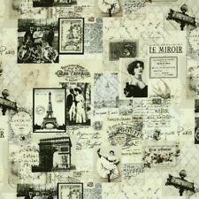 Timeless Treasures Paris Chic April in Paris News Fabric Noir-C9149 Cream BTY
