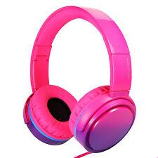 RockPapa Girls Over Ear Adjustable Foldable DJ Headphones Headsets Gradient Pink