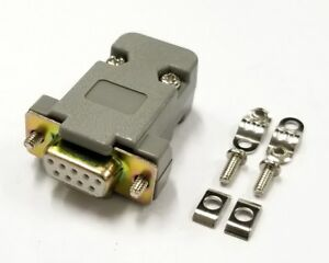 DB 9 Pin Female D-Sub Cable Mount Connector with Plastic Cover & Hardware DB9