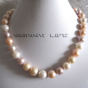 """18"""" 12-14mm White Pink Lavender A++ Freshwater Pearl Necklace UE"""