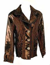 NWOT Dorman Copper Brown Crinkle Polyester Jacket Top w/ Corset Ties - Size M/L