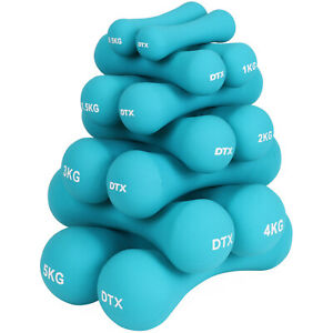 DTX Fitness Soft Blue Dumbbell Hand Weights Gym Exercise Dumbells Ladies/Mens